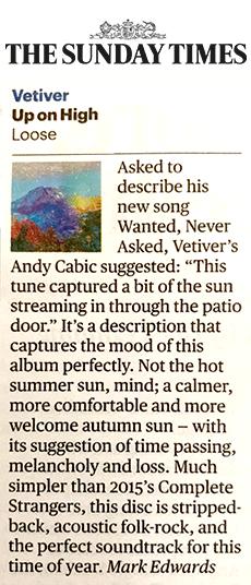 Vetiver, Sunday Times, 27 Oct 19