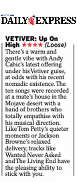 Vetiver, Scottish Daily Express, 1 Nov 2019