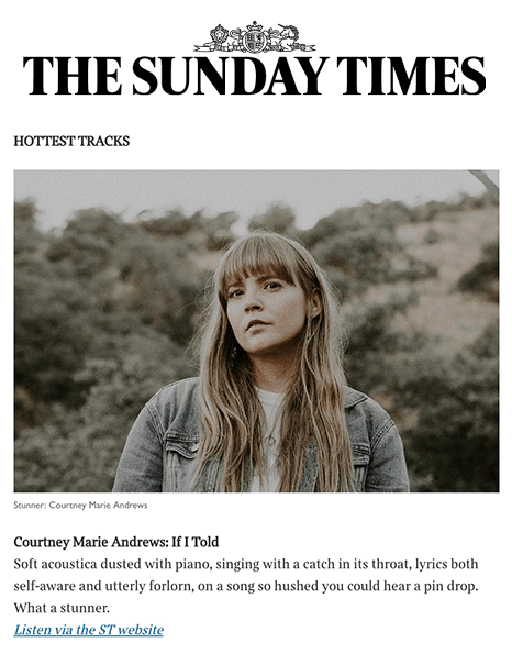 Courtney Marie Andrews, Sunday Times Hottest Tracks, 8 Mar 2020